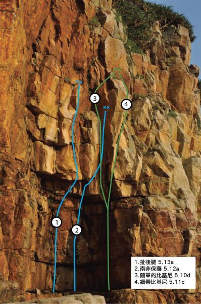 比基尼懸岩路線圖